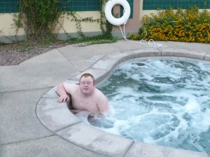 Andy in the hot tub - we were in the hot tub but thankfully you won't be exposed to that!