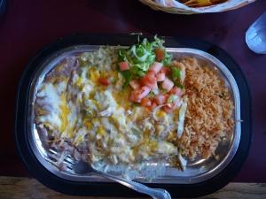 Green Chili Chicken Enchiladas at Kranberry's Restaurant, Lordsburg, NM