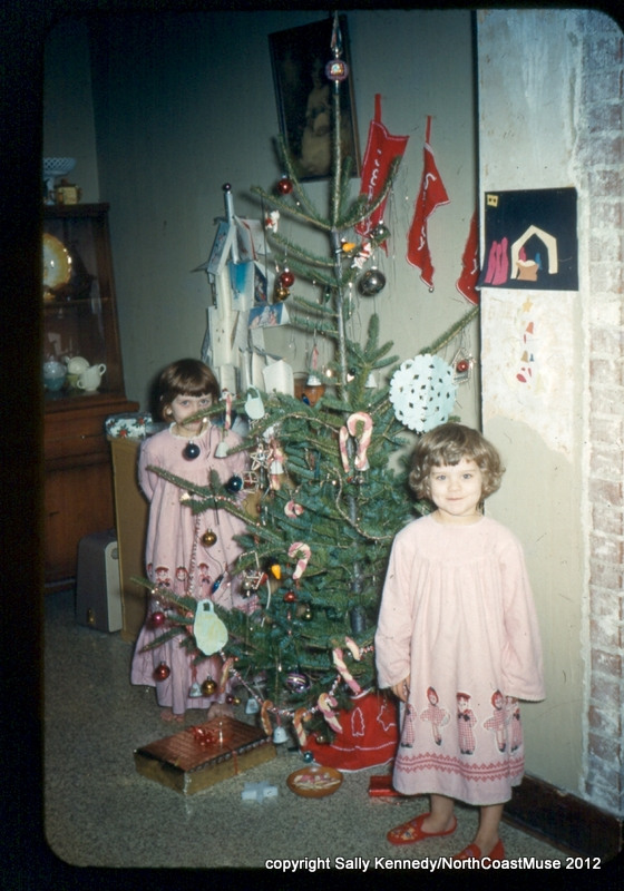 Of course my sister is right up front, I'm hiding behind the tree.