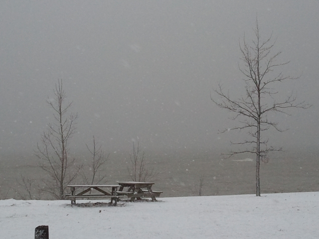Lake Effect Snow heading inland over Lake Erie
