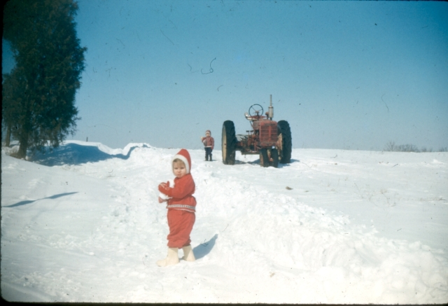A rare big snow in on the farm in southern Ohio, about 1960